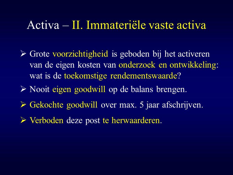 Activa – II. Immateriële vaste activa  Grote voorzichtigheid is geboden bij het activeren van de eigen kosten van onderzoek en ontwikkeling: wat is d