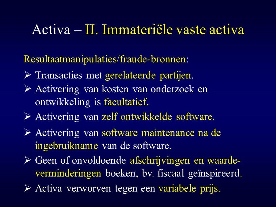 Activa – II. Immateriële vaste activa  Activering van zelf ontwikkelde software. Resultaatmanipulaties/fraude-bronnen:  Activering van kosten van on