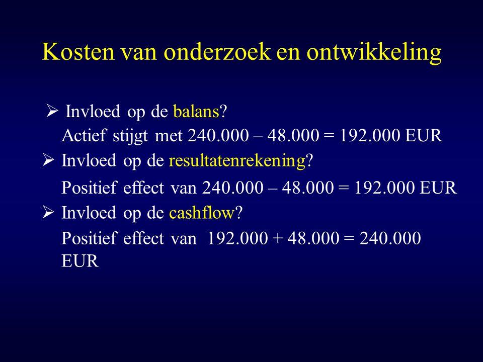 Kosten van onderzoek en ontwikkeling  Invloed op de balans? Actief stijgt met 240.000 – 48.000 = 192.000 EUR  Invloed op de resultatenrekening? Posi