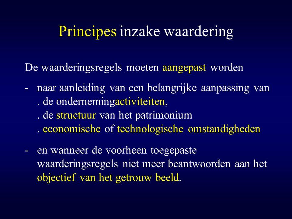 Principes inzake waardering De waarderingsregels moeten aangepast worden -naar aanleiding van een belangrijke aanpassing van. de ondernemingactiviteit