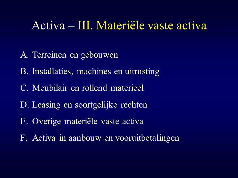 Activa – III. Materiële vaste activa A.Terreinen en gebouwen B.Installaties, machines en uitrusting C.Meubilair en rollend materieel D.Leasing en soor