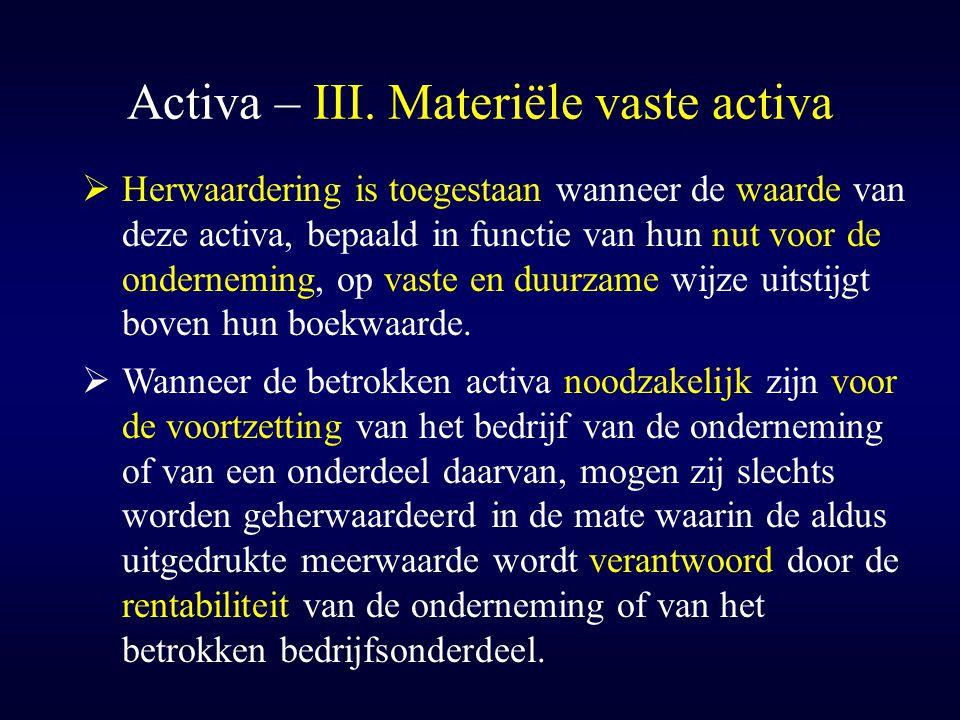Activa – III. Materiële vaste activa  Herwaardering is toegestaan wanneer de waarde van deze activa, bepaald in functie van hun nut voor de ondernemi