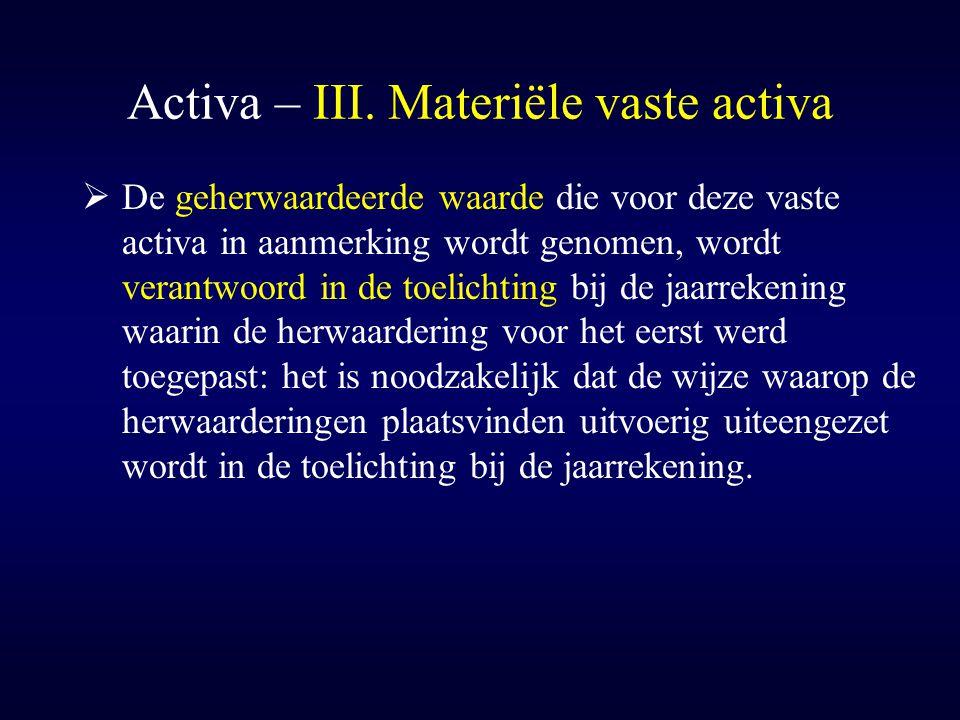 Activa – III. Materiële vaste activa  De geherwaardeerde waarde die voor deze vaste activa in aanmerking wordt genomen, wordt verantwoord in de toeli