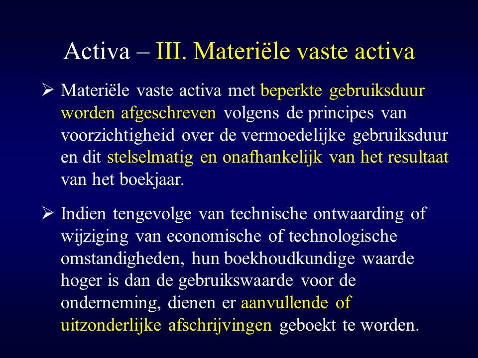 Activa – III. Materiële vaste activa  Materiële vaste activa met beperkte gebruiksduur worden afgeschreven volgens de principes van voorzichtigheid o