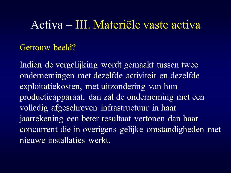 Activa – III. Materiële vaste activa Getrouw beeld? Indien de vergelijking wordt gemaakt tussen twee ondernemingen met dezelfde activiteit en dezelfde