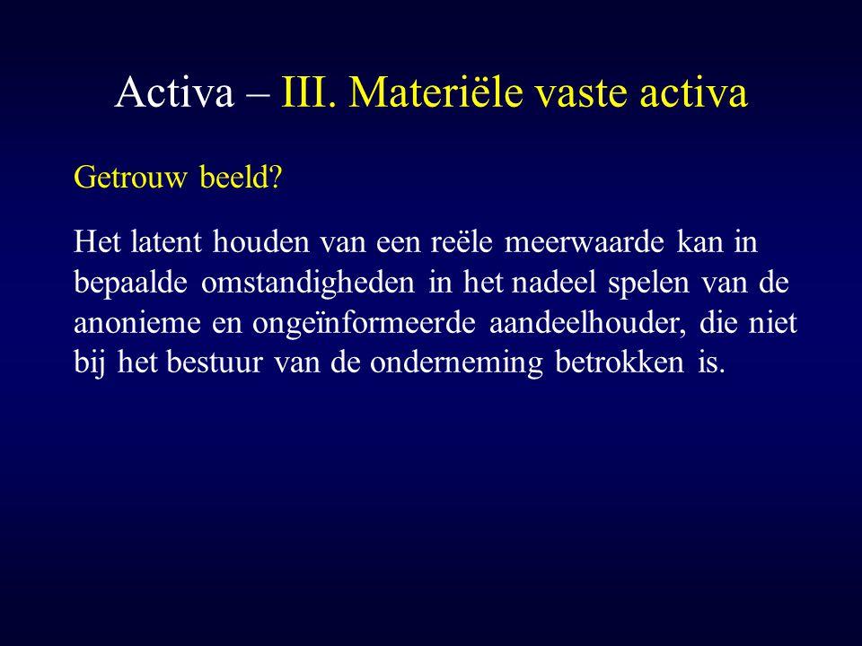 Activa – III. Materiële vaste activa Getrouw beeld? Het latent houden van een reële meerwaarde kan in bepaalde omstandigheden in het nadeel spelen van