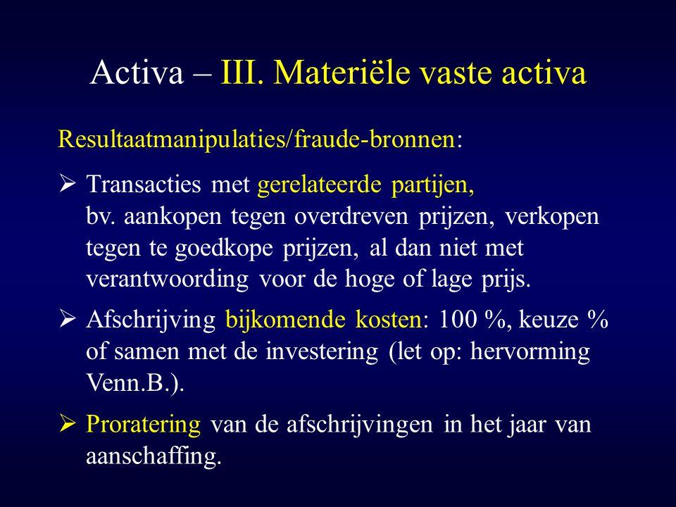 Activa – III. Materiële vaste activa  Afschrijving bijkomende kosten: 100 %, keuze % of samen met de investering (let op: hervorming Venn.B.). Result
