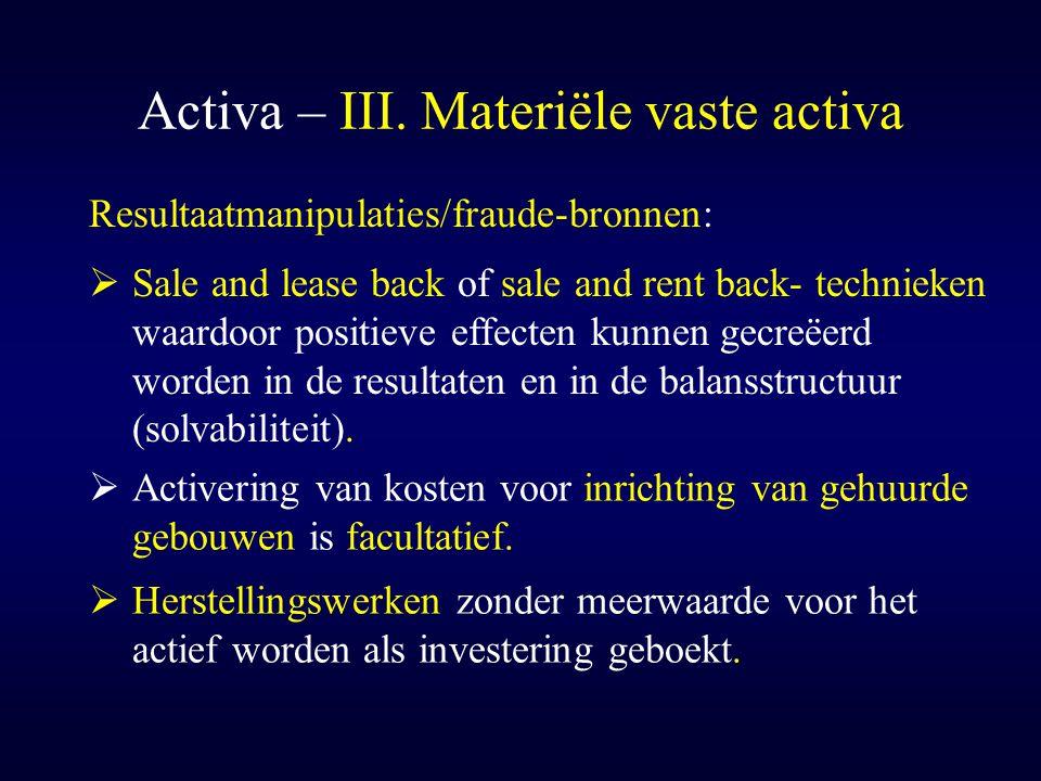 Activa – III. Materiële vaste activa Resultaatmanipulaties/fraude-bronnen:  Activering van kosten voor inrichting van gehuurde gebouwen is facultatie