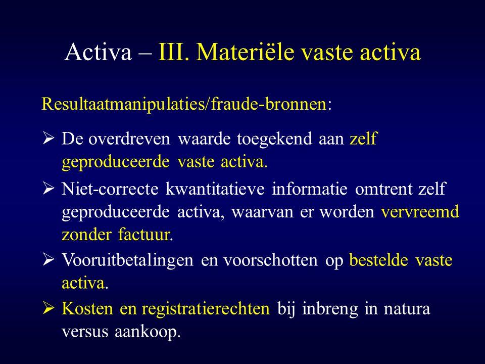 Activa – III. Materiële vaste activa  Niet-correcte kwantitatieve informatie omtrent zelf geproduceerde activa, waarvan er worden vervreemd zonder fa