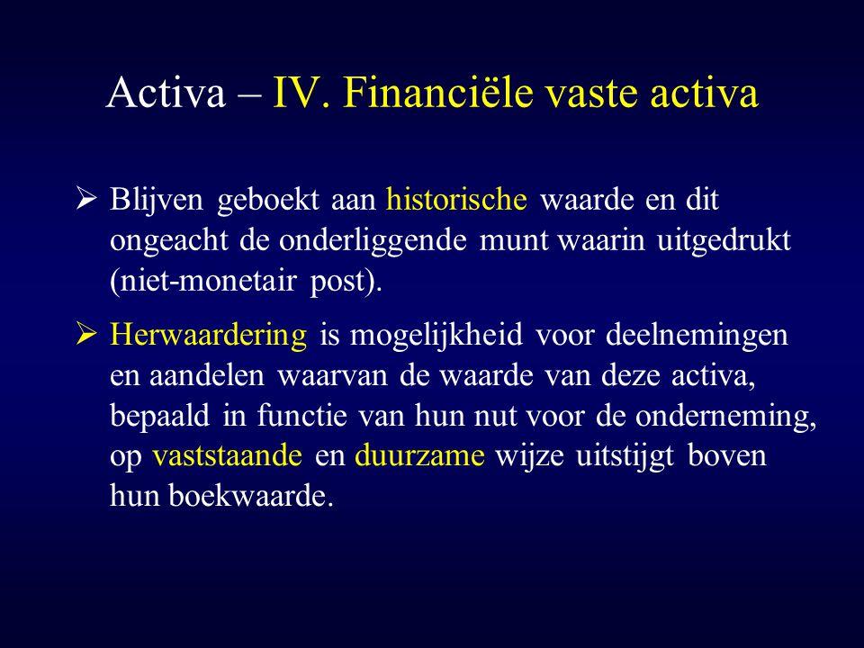 Activa – IV. Financiële vaste activa  Blijven geboekt aan historische waarde en dit ongeacht de onderliggende munt waarin uitgedrukt (niet-monetair p