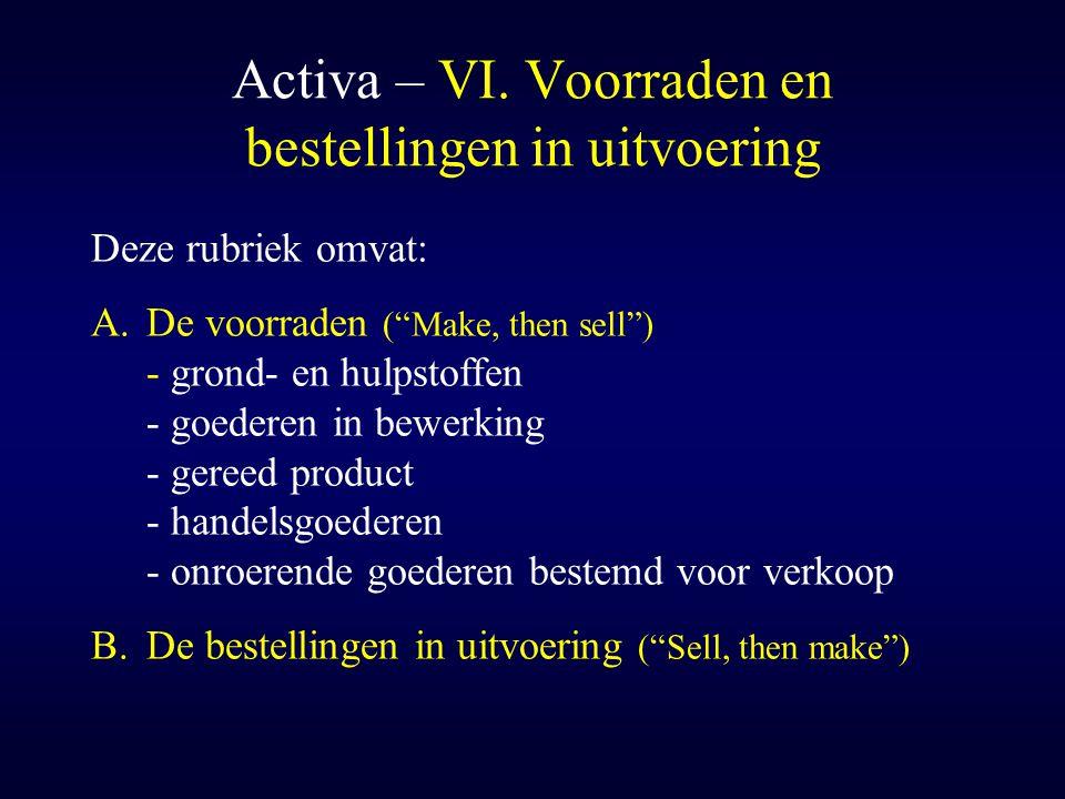 """Activa – VI. Voorraden en bestellingen in uitvoering Deze rubriek omvat: A.De voorraden (""""Make, then sell"""") - grond- en hulpstoffen - goederen in bewe"""