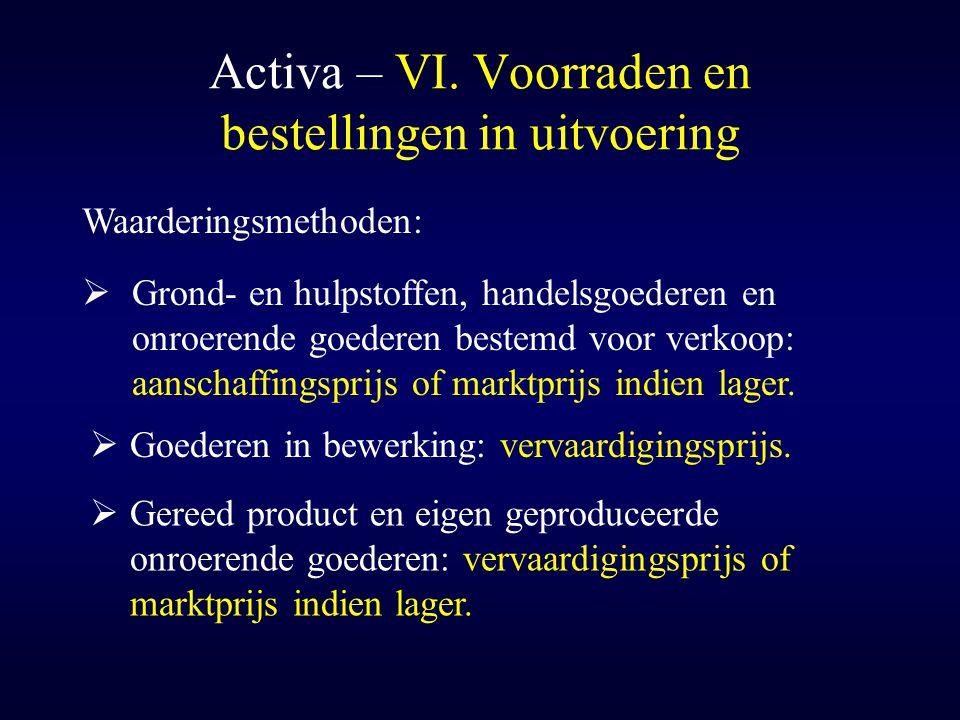 Activa – VI. Voorraden en bestellingen in uitvoering Waarderingsmethoden:  Grond- en hulpstoffen, handelsgoederen en onroerende goederen bestemd voor