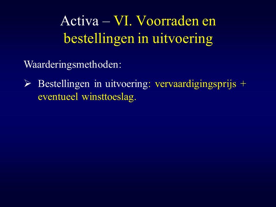 Activa – VI. Voorraden en bestellingen in uitvoering Waarderingsmethoden:  Bestellingen in uitvoering: vervaardigingsprijs + eventueel winsttoeslag.