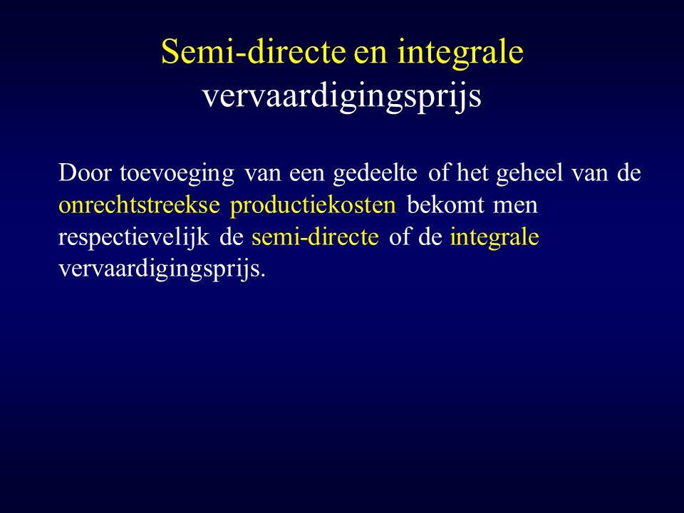 Semi-directe en integrale vervaardigingsprijs Door toevoeging van een gedeelte of het geheel van de onrechtstreekse productiekosten bekomt men respect