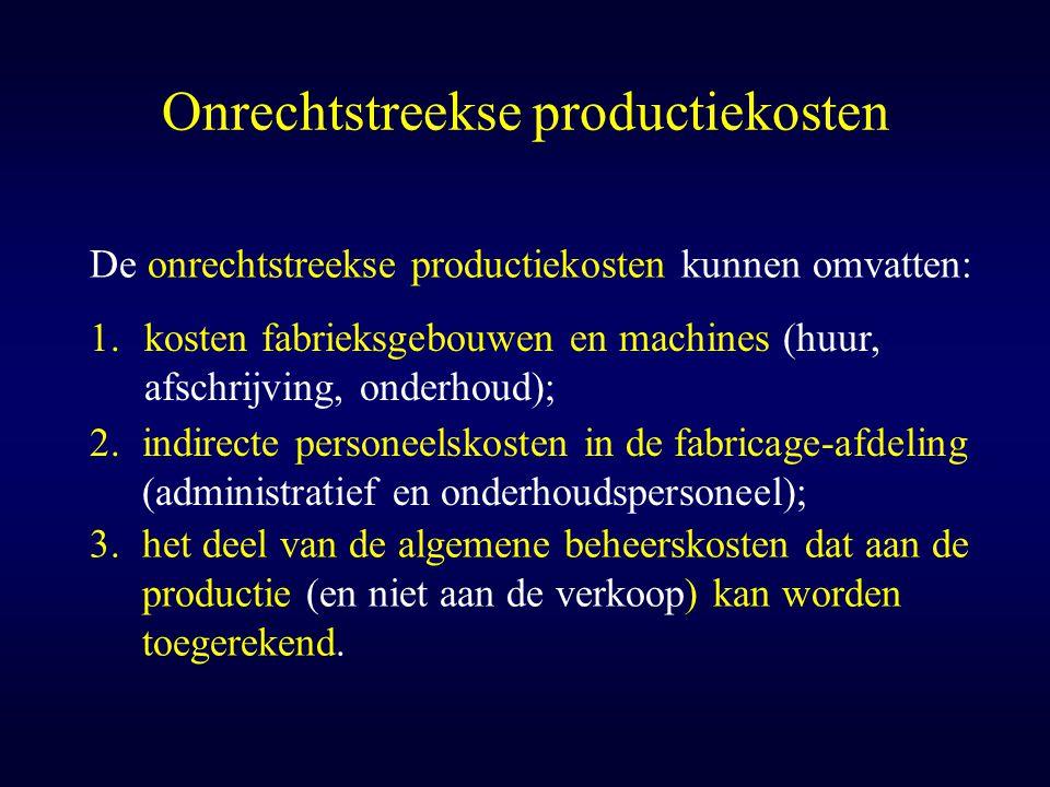 Onrechtstreekse productiekosten De onrechtstreekse productiekosten kunnen omvatten: 1.kosten fabrieksgebouwen en machines (huur, afschrijving, onderho