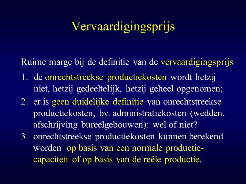 Vervaardigingsprijs Ruime marge bij de definitie van de vervaardigingsprijs 1.de onrechtstreekse productiekosten wordt hetzij niet, hetzij gedeeltelij