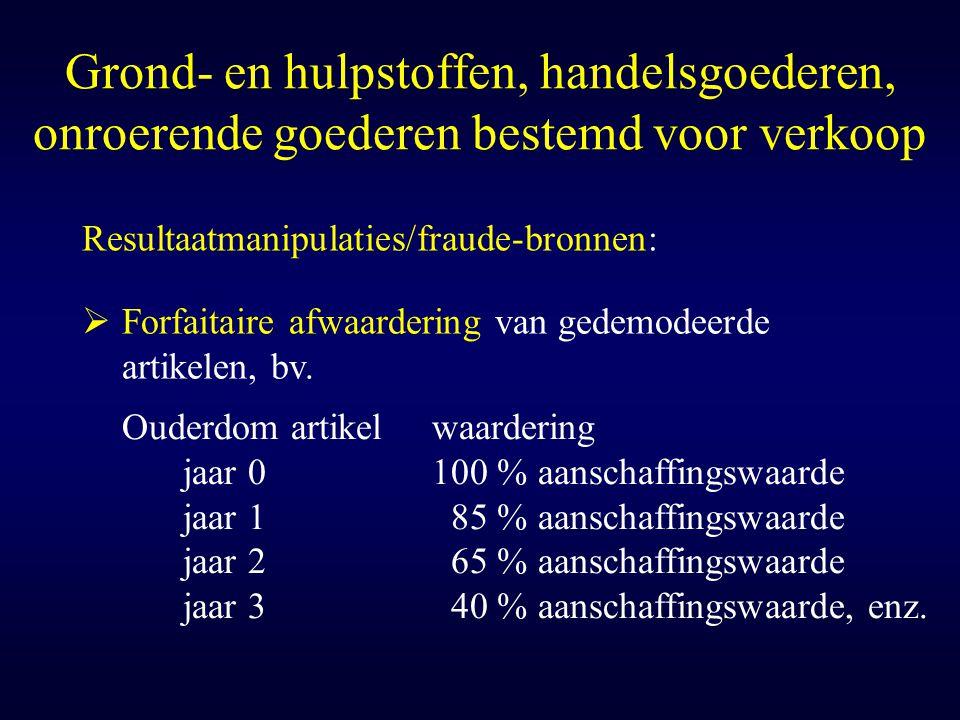 Grond- en hulpstoffen, handelsgoederen, onroerende goederen bestemd voor verkoop Resultaatmanipulaties/fraude-bronnen:  Forfaitaire afwaardering van