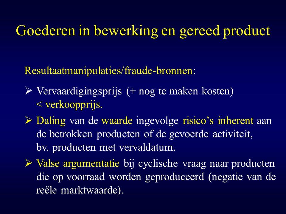Goederen in bewerking en gereed product  Daling van de waarde ingevolge risico's inherent aan de betrokken producten of de gevoerde activiteit, bv. p