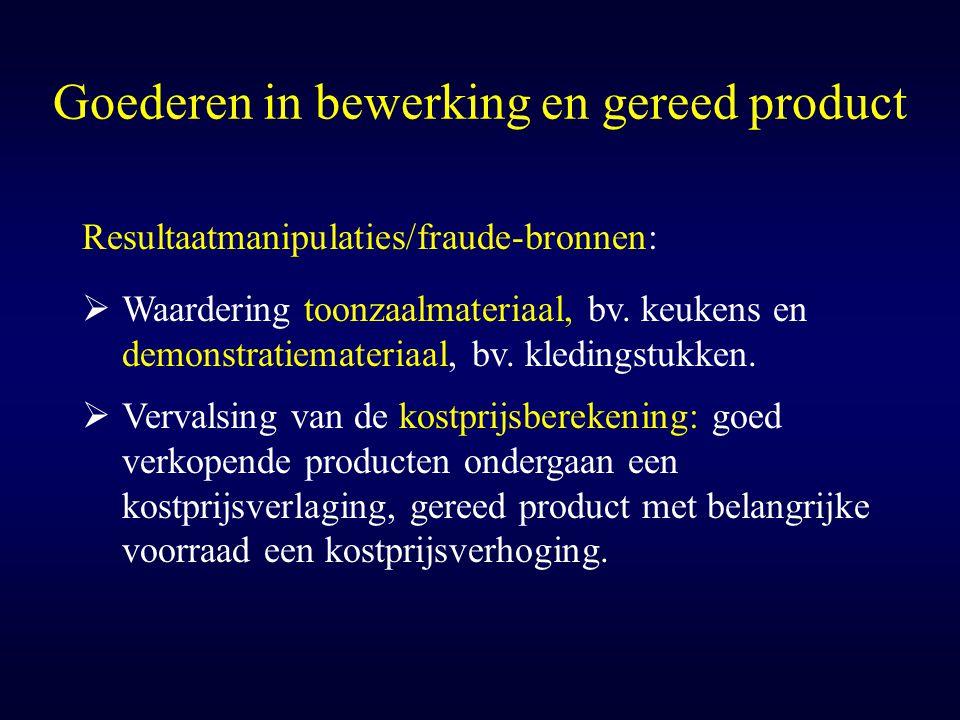Goederen in bewerking en gereed product Resultaatmanipulaties/fraude-bronnen:  Waardering toonzaalmateriaal, bv. keukens en demonstratiemateriaal, bv