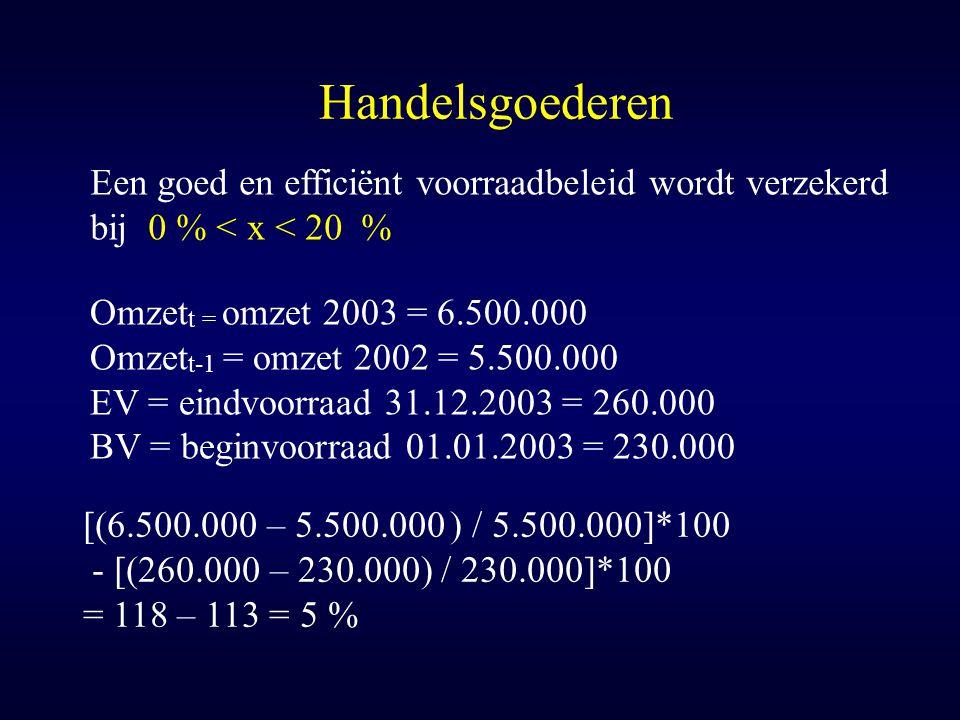 Handelsgoederen [(6.500.000 – 5.500.000 ) / 5.500.000]*100 - [(260.000 – 230.000) / 230.000]*100 = 118 – 113 = 5 % Omzet t = omzet 2003 = 6.500.000 Om