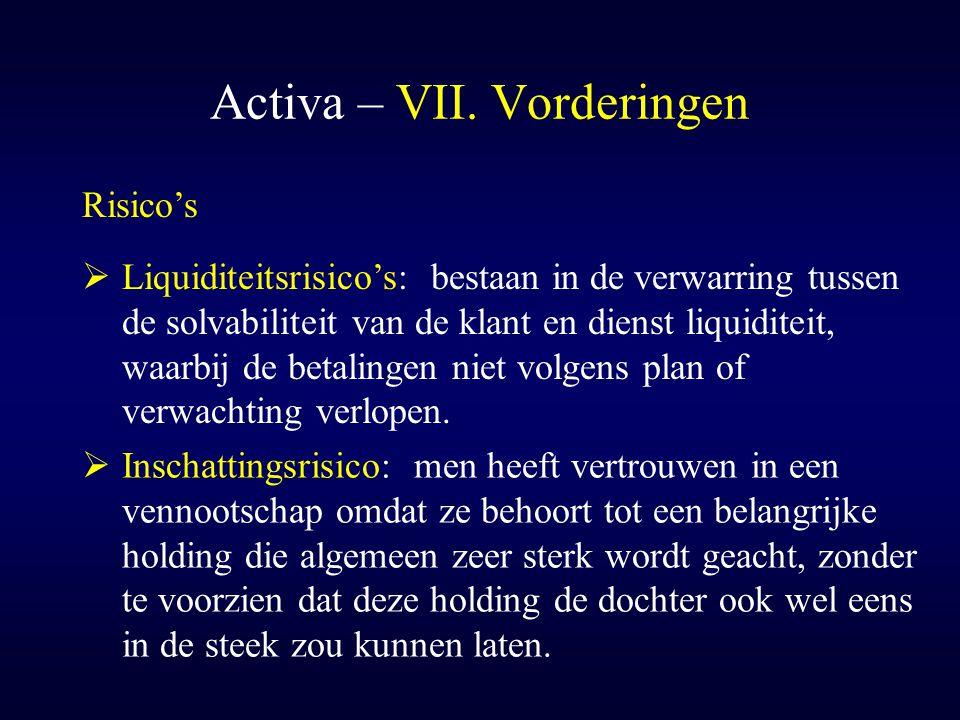 Activa – VII. Vorderingen  Inschattingsrisico: men heeft vertrouwen in een vennootschap omdat ze behoort tot een belangrijke holding die algemeen zee