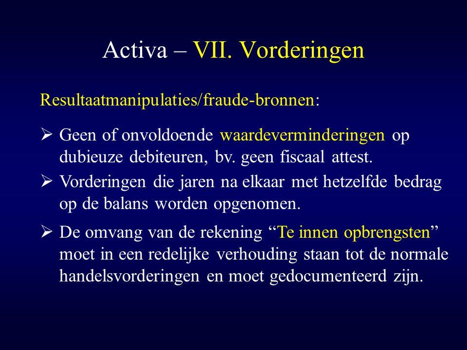 Activa – VII. Vorderingen  Vorderingen die jaren na elkaar met hetzelfde bedrag op de balans worden opgenomen. Resultaatmanipulaties/fraude-bronnen: