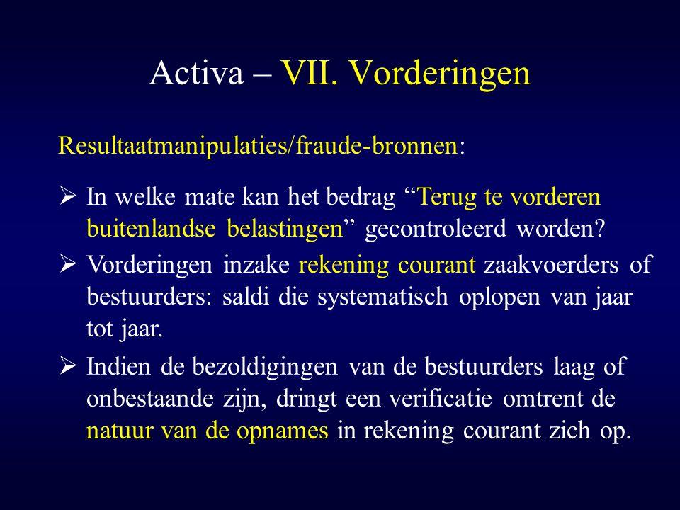 Activa – VII. Vorderingen  Vorderingen inzake rekening courant zaakvoerders of bestuurders: saldi die systematisch oplopen van jaar tot jaar. Resulta