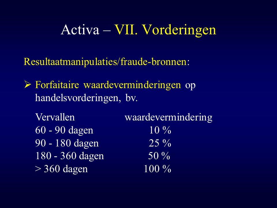Activa – VII. Vorderingen Resultaatmanipulaties/fraude-bronnen:  Forfaitaire waardeverminderingen op handelsvorderingen, bv. Vervallenwaardeverminder