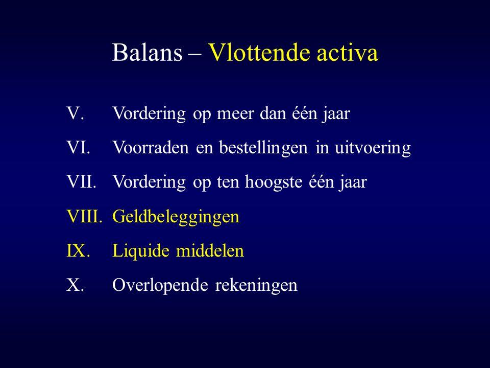 Balans – Vlottende activa V.Vordering op meer dan één jaar VI.Voorraden en bestellingen in uitvoering VII.Vordering op ten hoogste één jaar VIII.Geldb