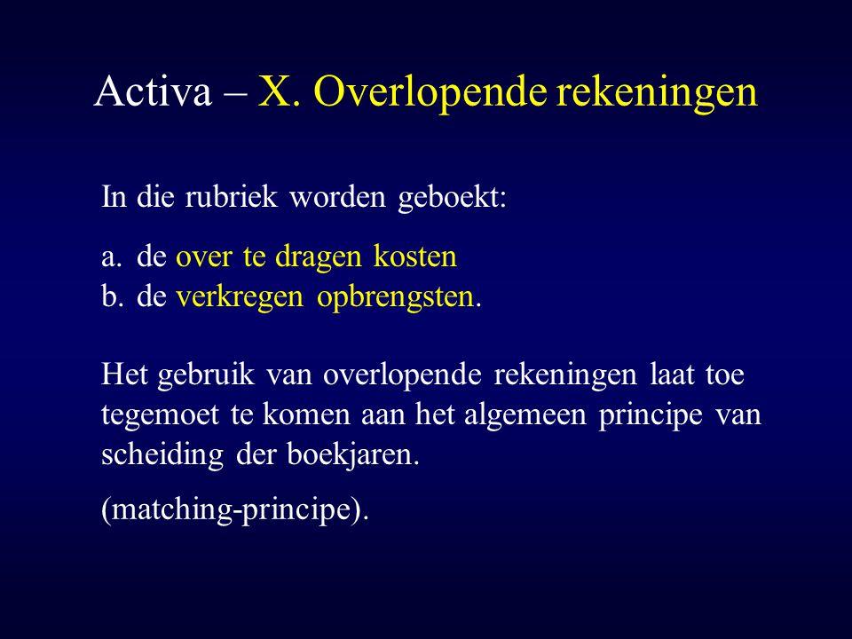 Activa – X. Overlopende rekeningen In die rubriek worden geboekt: a.de over te dragen kosten b.de verkregen opbrengsten. Het gebruik van overlopende r