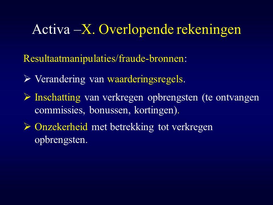Activa –X. Overlopende rekeningen  Onzekerheid met betrekking tot verkregen opbrengsten. Resultaatmanipulaties/fraude-bronnen:  Inschatting van verk