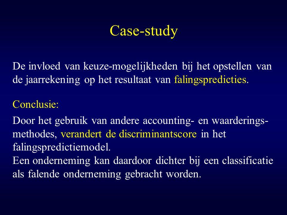 Case-study De invloed van keuze-mogelijkheden bij het opstellen van de jaarrekening op het resultaat van falingspredicties. Conclusie: Door het gebrui