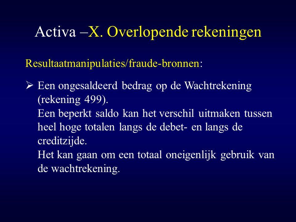 Activa –X. Overlopende rekeningen Resultaatmanipulaties/fraude-bronnen:  Een ongesaldeerd bedrag op de Wachtrekening (rekening 499). Een beperkt sald