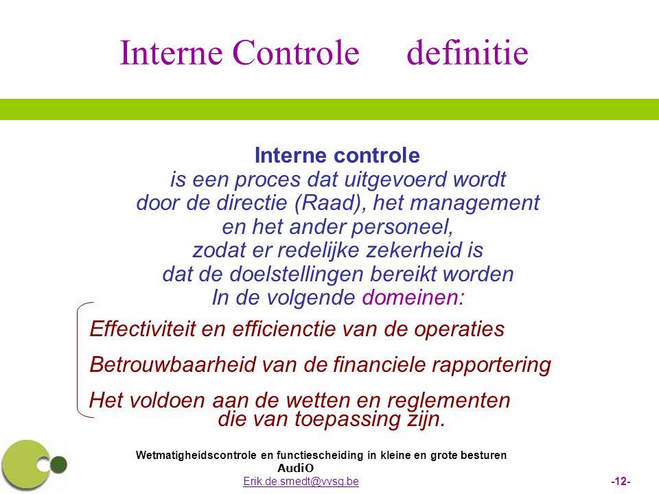 Wetmatigheidscontrole en functiescheiding in kleine en grote besturen AudiO Erik.de.smedt@vvsg.be -12-Erik.de.smedt@vvsg.be Interne controle is een pr