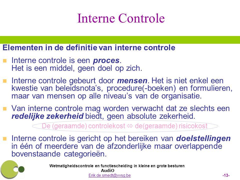 Wetmatigheidscontrole en functiescheiding in kleine en grote besturen AudiO Erik.de.smedt@vvsg.be -13-Erik.de.smedt@vvsg.be Interne Controle Elementen in de definitie van interne controle   Interne controle is een proces.