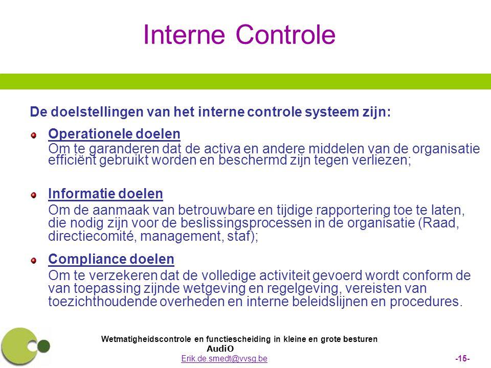 Wetmatigheidscontrole en functiescheiding in kleine en grote besturen AudiO Erik.de.smedt@vvsg.be -15-Erik.de.smedt@vvsg.be Interne Controle De doelst
