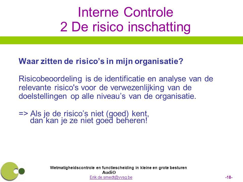 Wetmatigheidscontrole en functiescheiding in kleine en grote besturen AudiO Erik.de.smedt@vvsg.be -18-Erik.de.smedt@vvsg.be Interne Controle 2 De risi