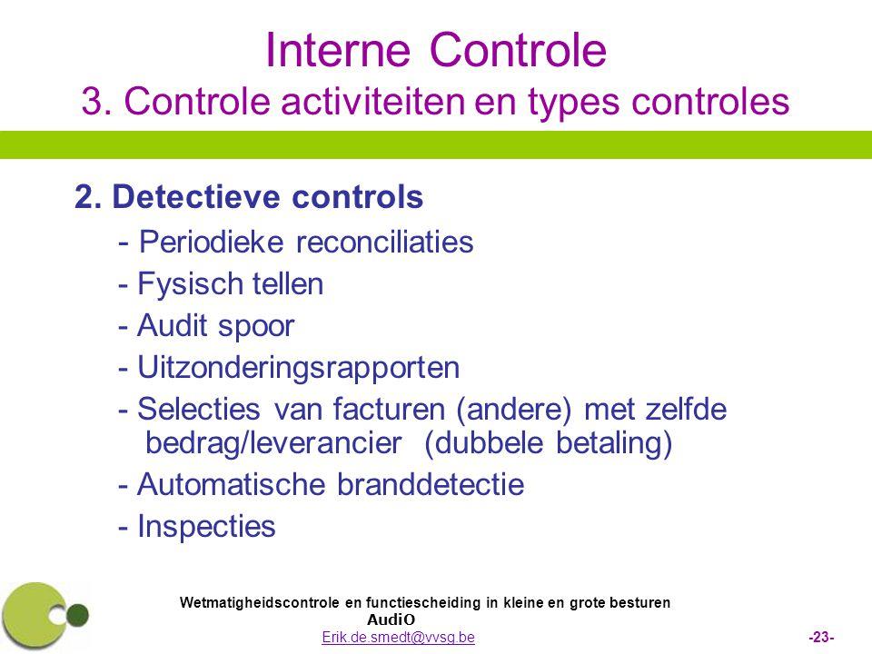 Wetmatigheidscontrole en functiescheiding in kleine en grote besturen AudiO Erik.de.smedt@vvsg.be -23-Erik.de.smedt@vvsg.be Interne Controle 3. Contro