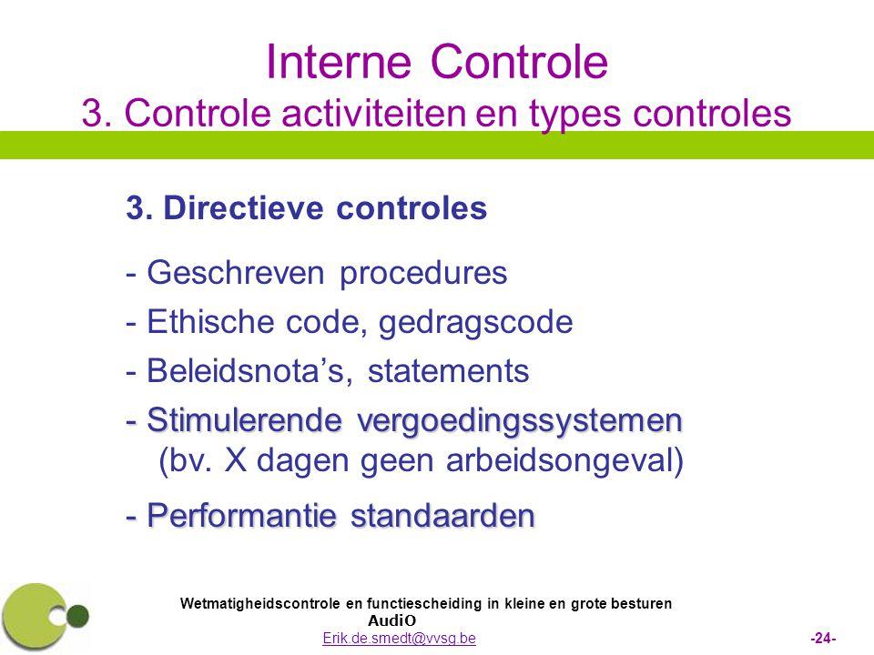 Wetmatigheidscontrole en functiescheiding in kleine en grote besturen AudiO Erik.de.smedt@vvsg.be -24-Erik.de.smedt@vvsg.be Interne Controle 3. Contro