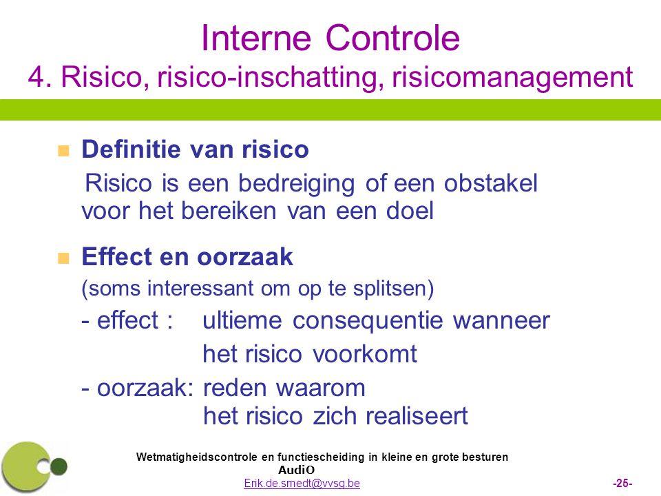Wetmatigheidscontrole en functiescheiding in kleine en grote besturen AudiO Erik.de.smedt@vvsg.be -25-Erik.de.smedt@vvsg.be Interne Controle 4.
