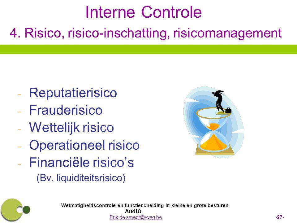 Wetmatigheidscontrole en functiescheiding in kleine en grote besturen AudiO Erik.de.smedt@vvsg.be -27-Erik.de.smedt@vvsg.be Interne Controle 4. Risico