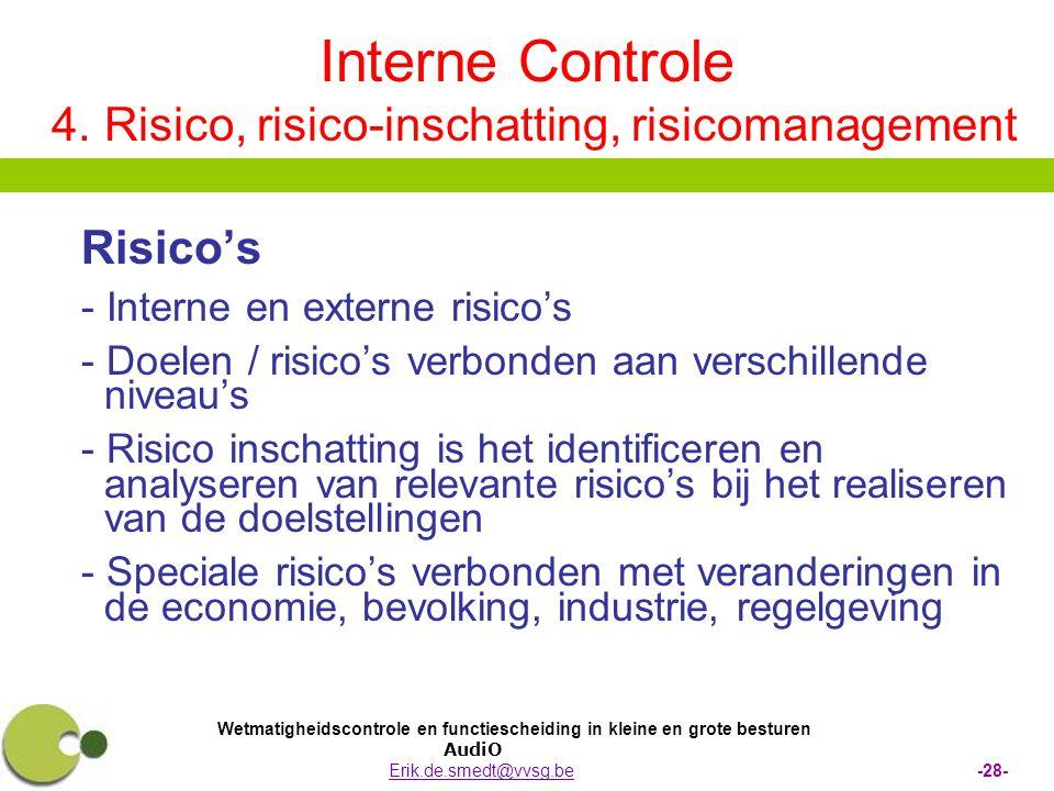 Wetmatigheidscontrole en functiescheiding in kleine en grote besturen AudiO Erik.de.smedt@vvsg.be -28-Erik.de.smedt@vvsg.be Interne Controle 4. Risico