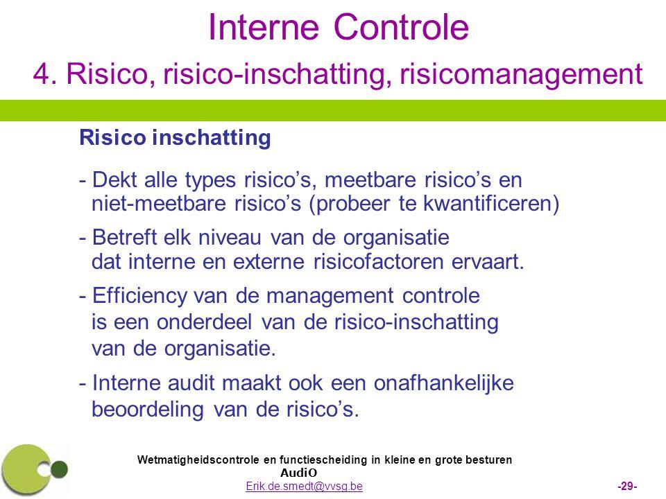 Wetmatigheidscontrole en functiescheiding in kleine en grote besturen AudiO Erik.de.smedt@vvsg.be -29-Erik.de.smedt@vvsg.be Interne Controle 4. Risico