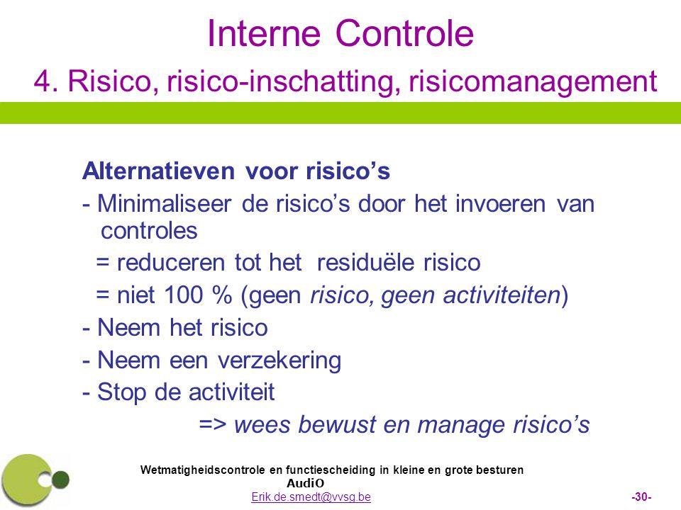 Wetmatigheidscontrole en functiescheiding in kleine en grote besturen AudiO Erik.de.smedt@vvsg.be -30-Erik.de.smedt@vvsg.be Interne Controle 4. Risico