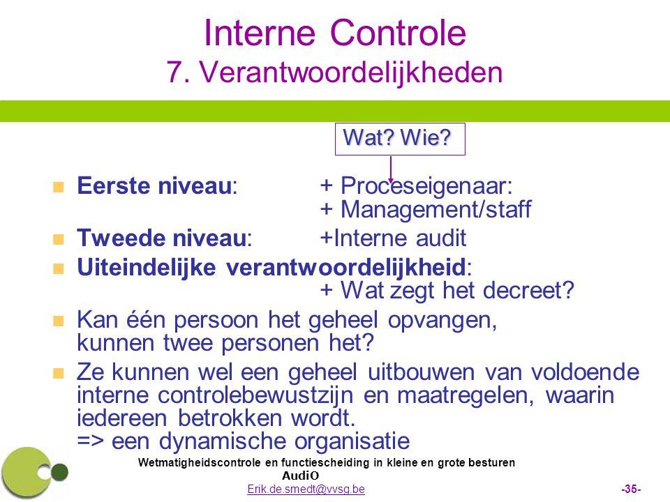 Wetmatigheidscontrole en functiescheiding in kleine en grote besturen AudiO Erik.de.smedt@vvsg.be -35-Erik.de.smedt@vvsg.be Interne Controle 7. Verant