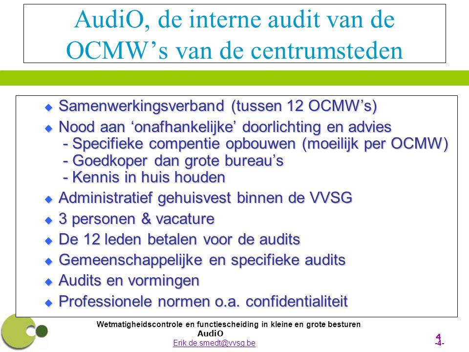 Wetmatigheidscontrole en functiescheiding in kleine en grote besturen AudiO Erik.de.smedt@vvsg.be -4-Erik.de.smedt@vvsg.be 4 AudiO, de interne audit v