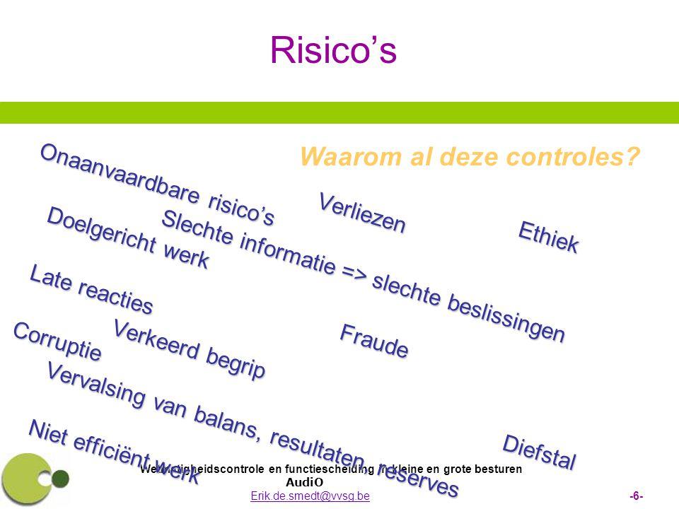 Wetmatigheidscontrole en functiescheiding in kleine en grote besturen AudiO Erik.de.smedt@vvsg.be -6-Erik.de.smedt@vvsg.be Risico's Ethiek EthiekVerli