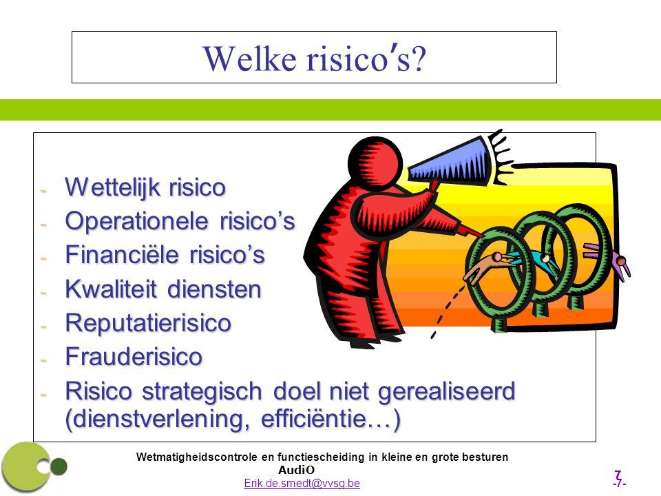 Wetmatigheidscontrole en functiescheiding in kleine en grote besturen AudiO Erik.de.smedt@vvsg.be -18-Erik.de.smedt@vvsg.be Interne Controle 2 De risico inschatting Waar zitten de risico's in mijn organisatie.