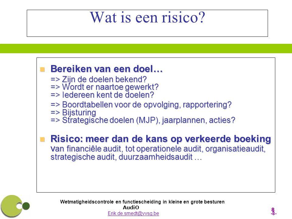 Wetmatigheidscontrole en functiescheiding in kleine en grote besturen AudiO Erik.de.smedt@vvsg.be -8-Erik.de.smedt@vvsg.be 8 Wat is een risico?  Bere
