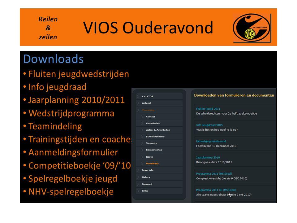 VIOS Ouderavond Downloads • Fluiten jeugdwedstrijden • Info jeugdraad • Jaarplanning 2010/2011 • Wedstrijdprogramma • Teamindeling • Trainingstijden e